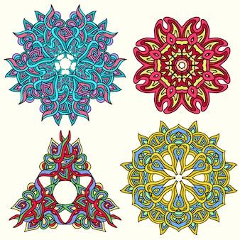 Set di mandala multicolor ornamento. elemento decorativo d'epoca