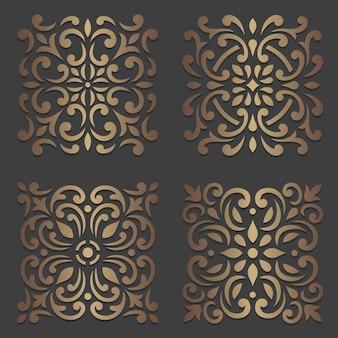 Set di mandala ornamento rotondo su oscurità