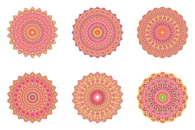 Set di mandala ornato astratto geometrico rotondo
