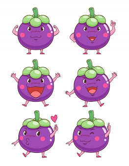 Set di mangostani simpatico cartone animato in diverse pose.