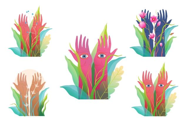 Set di mani alzate esoteriche spiritiual, clipart isolato. arte disegnata a mano di fantasia e misticismo