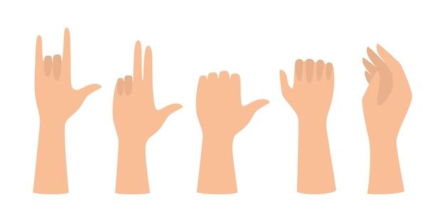 Set di mani che mostrano diversi gesti. palmo che indica qualcosa