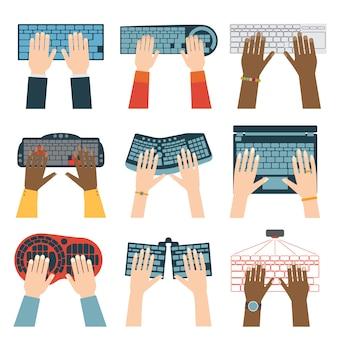 Set di mani da tastiera.