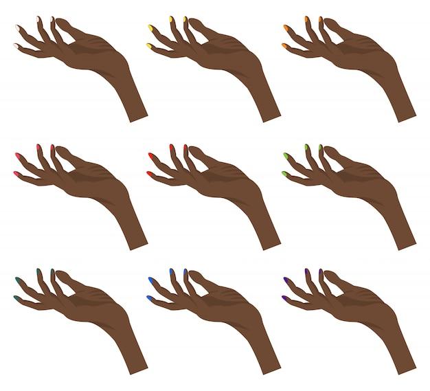 Set di mani femminili dalla pelle scura per il costruttore