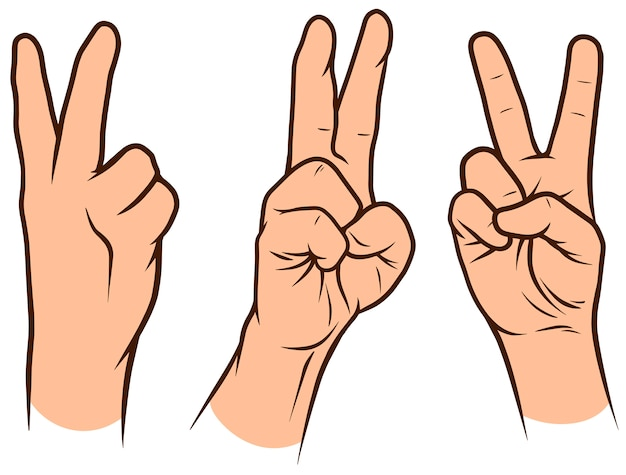 Set di mani umane bianche del fumetto