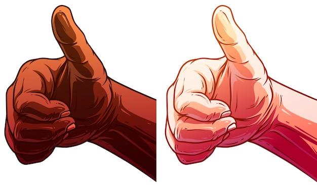 Set di mani umane bianche e nere del fumetto
