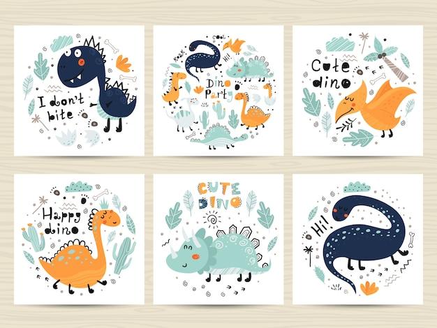 Set di manifesti con simpatici dinosauri e scritte.