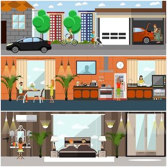 Set di manifesti di casa, striscioni in stile piano