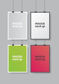 Set di manifesti di colore isolato su grigio con morbida ombra. modello realistico di manifesti colorati.