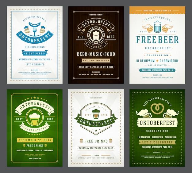 Set di manifesti di tipografia dell'oktoberfest