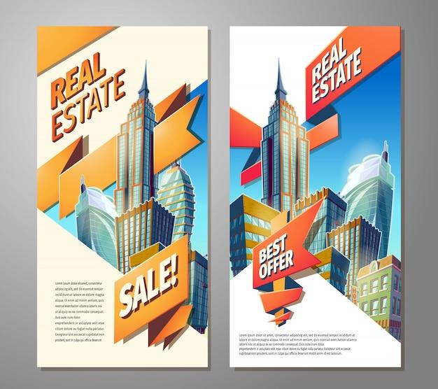 Set di manifesti pubblicitari per la vendita di beni immobili.