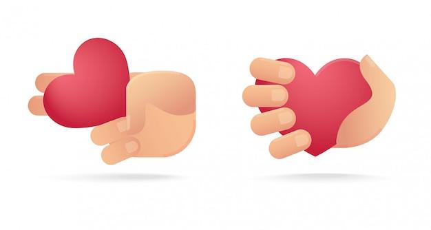 Set di mano che tiene l'icona del cuore. concetto di amore