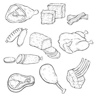 Set di mano disegnata o schizzo stile con diversi tipi di carne in bianco e nero