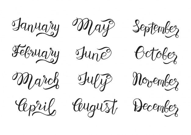 Set di mano scritto da gennaio a dicembre