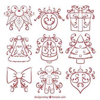 Set di mano tradizionale disegnato elementi decorativi di natale