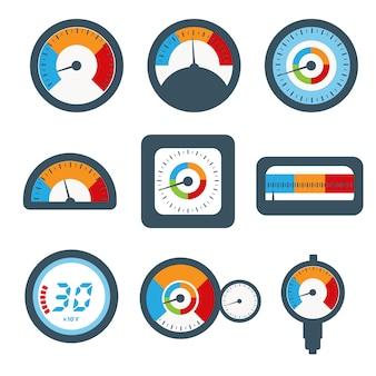 Set di manometri, set di icone di pressione e temperatura.