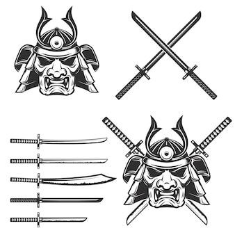 Set di maschera samurai con spade incrociate su sfondo bianco. elementi per, etichetta, emblema, segno, marchio. illustrazione.