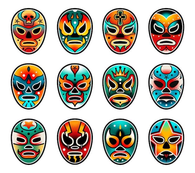 Set di maschere per lo spettacolo di wrestling di lucha libre