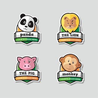 Set di mascotte divertente logo animale