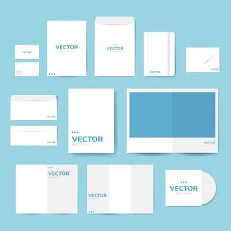 Set di materiale di stampa disegni mockup vettoriale