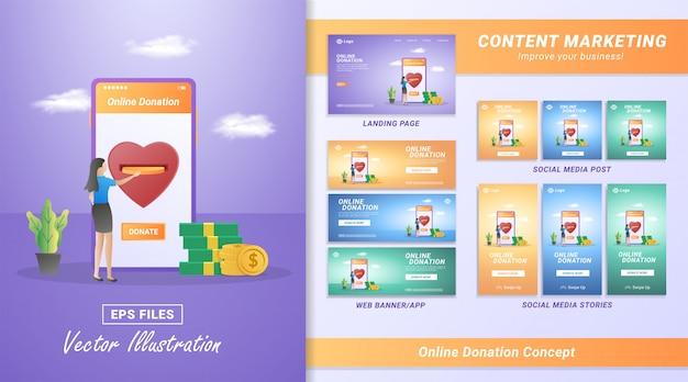 Set di materiale per il marketing dei contenuti