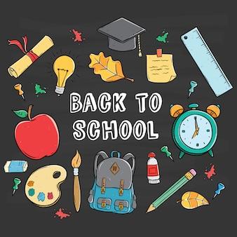 Set di materiale scolastico di doodle o attrezzature con ritorno a scuola testo sulla lavagna