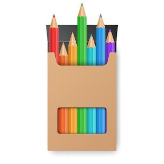Set di matite colorate nella scatola gialla