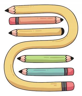 Set di matite illustrazione di cartone animato carino