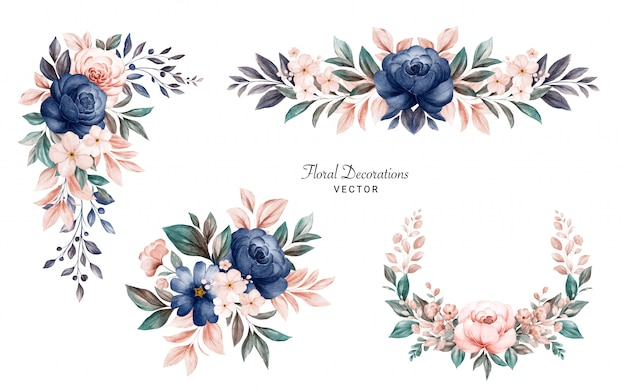 Set di mazzi di fiori con cornice floreale dell'acquerello di rose e foglie blu scuro e pesca.