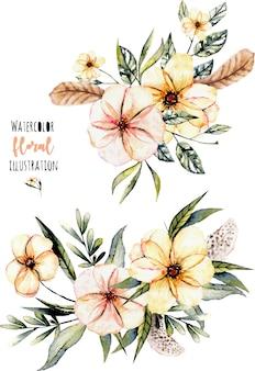 Set di mazzi di fiori e foglie rosa acquerello