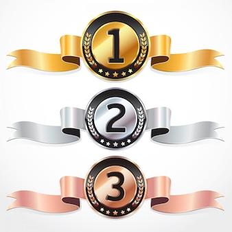 Set di medaglie con nastro. illustrazione vettoriale.