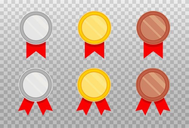 Set di medaglie con nastro rosso in uno stile piatto.