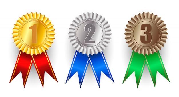Set di medaglie d'oro, argento e bronzo premio vettoriale.
