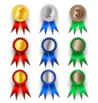 Set di medaglie d'oro, argento e bronzo.