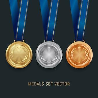 Set di medaglie d'oro, argento e bronzo