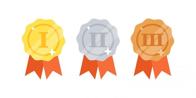 Set di medaglie d'oro, d'argento, di bronzo con nastri