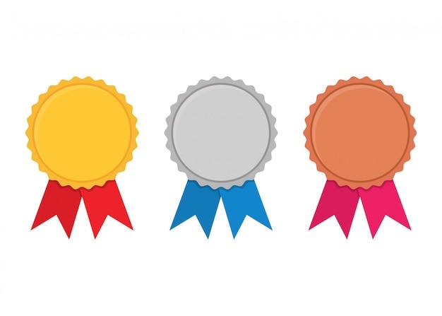 Set di medaglie premio oro, argento e bronzo