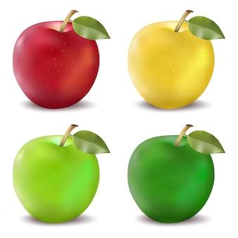 Set di mele rosse e verdi. illustrazione vettoriale fotorealistica di una mela in quattro combinazioni di colori