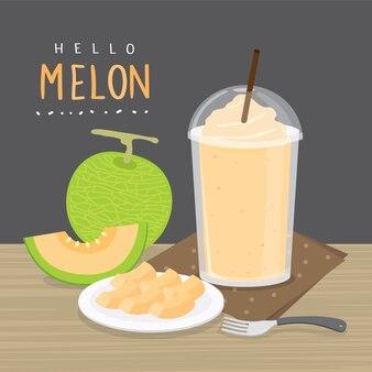 Set di meloni giapponesi freschi, melone arancione o melone cantalupo con frullato. illustrazione di cartone animato