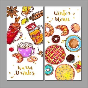 Set di menu di bevande alimentari