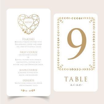 Set di menu di nozze d'oro classico ed elegante