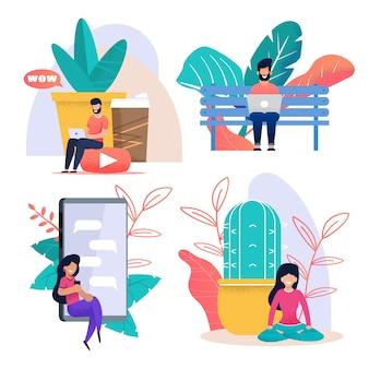 Set di metafora del fumetto piatto di lavoro e riposo di libero professionista