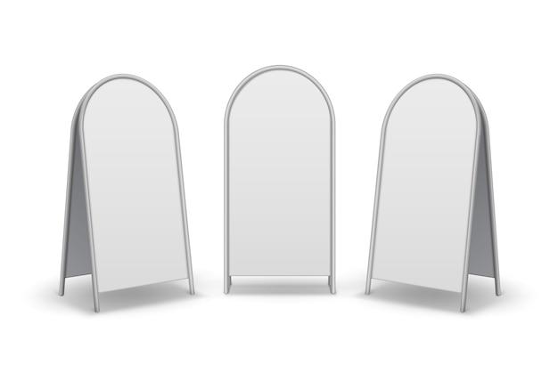 Set di metallo ovale rotondo vuoto vuoto pubblicità stand marciapiede