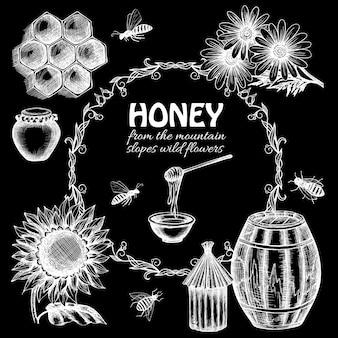 Set di miele di lavagna