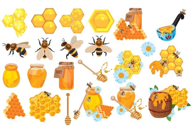 Set di miele raccolta di apicoltura. insieme dell'apiario del fumetto. illustrazione dell'alveare.