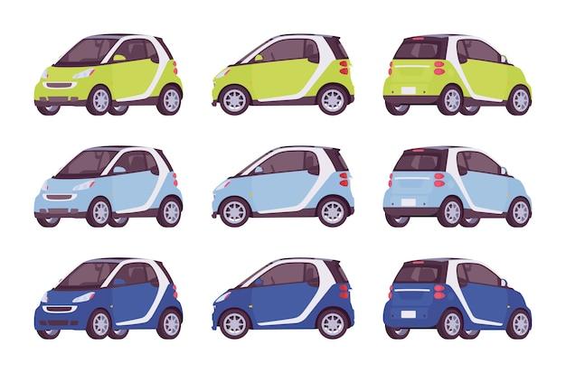Set di mini auto elettrica nei colori verde, blu, blu scuro