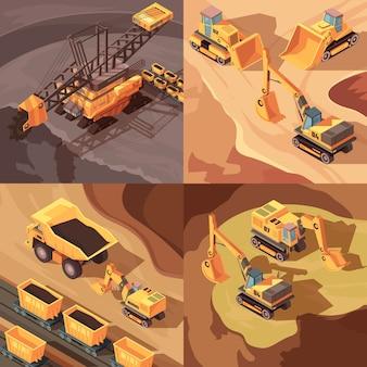 Set di miniere di composizioni quadrate con attrezzature per macchinari