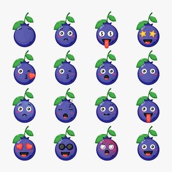 Set di mirtilli carini con emoticon