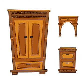 Set di mobili antichi - armadio, cassettiera, comodino