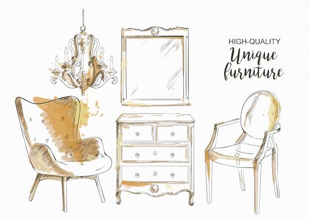 Set di mobili e dettagli interni